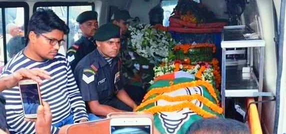 Martyr's coffin found draped in BJD flag