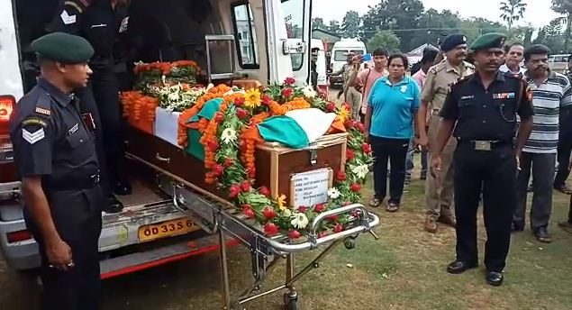 Pulwama martyr Ajit Sahoo's mortal remains consigned to flames