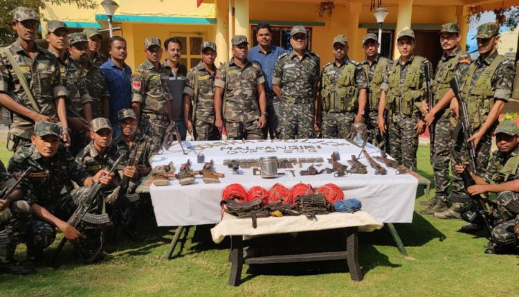 Huge cache of arms and ammunition seized from Maoist camp in Malkangiri